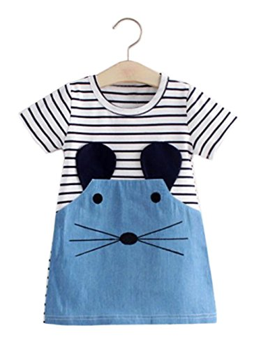 stylesilove Little Mouse 3D Ears Striped Girl Tunic Mini Dress (100/18-24 Months)