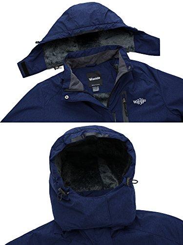Extraíble para Capucha Contraviento Wantdo Montaña con Azul Oscuro Polar Chaqueta de de Esquí Mujer Px45wqv4