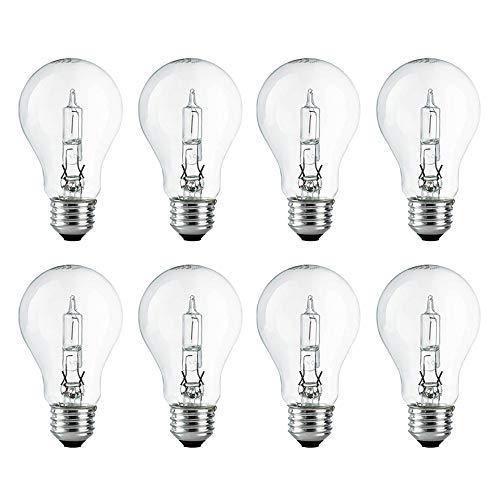 A19 Clear Halogen Light Bulb, 43 Watt, (60W Equivalent), 2700K Soft White, E26 Medium Base, 750 Lumens, 120V (8 Pack)