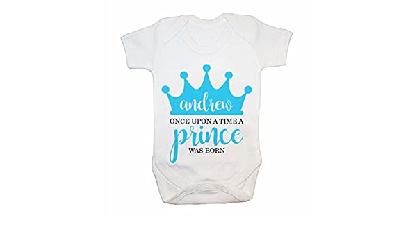 Amazon Promini Cute Personalised Once Upon A Time Prince Was Born Cotton Baby Bodysuit Cool Infant Romper Clothing