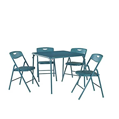 Cosco Products 5-Piece Folding Table and Chair Set, Teal