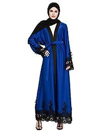 Ababalaya Women's Elegant Modest Muslim Open Front Lace Splicing Maxi Abaya with Wrap