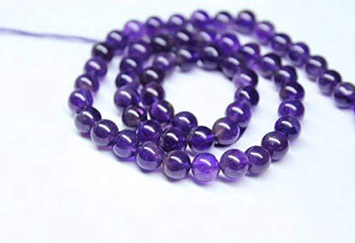 Beads Bazar Natural Beautiful jewellery Purple African Amethyst Smooth Round Ball Gemstone Craft Loose Beads Strand 16