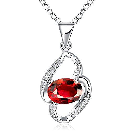 SDLM Sliver Chain Elegant Red Crystal Charm Pendant Necklaces Gift (Ratchet Costume)