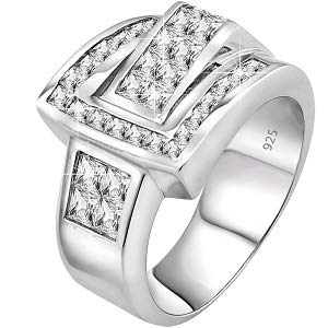 Sterling Manufacturers Men's Elegant Sterling Silver .925 Buckle Ring with Fancy Cubic Zirconia (CZ) Invisible and Channel Set Stones, Platinum Plated (9) (Platinum Plated Multi Stone Ring)