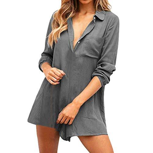 Button Down Short Jumpsuit,✔ Hypothesis_X ☎ Short Playsuit for Women Wide Leg Jumpsuits Loose Long Sleeve Jumpsuit Gray -