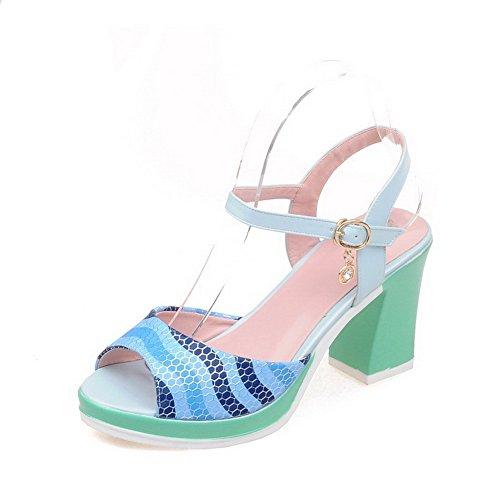Amoonyfashion Kvinna Mjukt Material Spänne Öppen Tå Kick-häl Diverse Färg Sandaler Blå