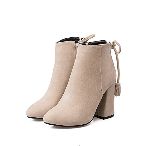 Allhqfashion Toe Zipper Heels Top Boots Closed Pointed High Women's Low Beige rT6wrg
