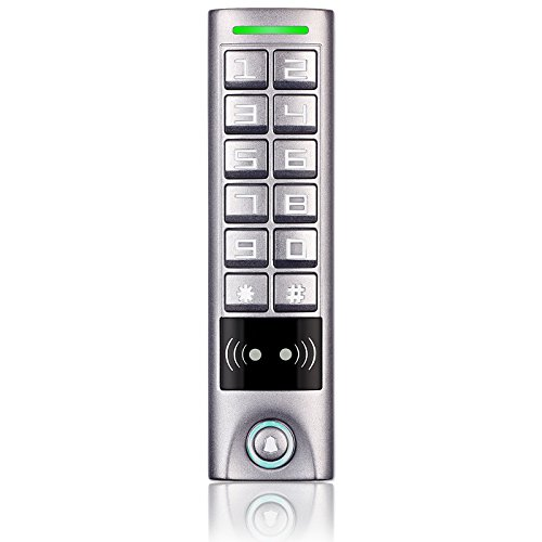 Access Control Keypad, ZOTER Waterproof IP65 RFID Card Reader 125Khz Alloy Metal Button by ZOTER