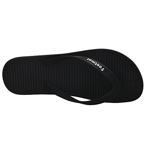 Feetmat Mens Slippers Summer Flat Sandals Flip Flops Black/Grey OQ7pB8f
