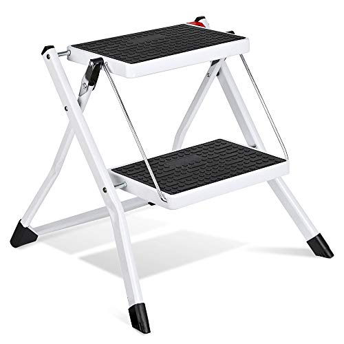 Delxo 2 Step Stool Stepladders Lightweight White Folding Step Ladder with Handgrip Anti-Slip Sturdy and Wide Pedal Steel Ladder Mini-Stool 250lbs -
