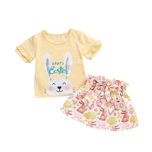 - MAMOWEAR Easter Day-Toddler Baby Girls Skirt Set Ruffle Sleeve T-Shirt Tops+ Bunny Bow Skirt Outfit Set (Yellow, 2-3 Years)