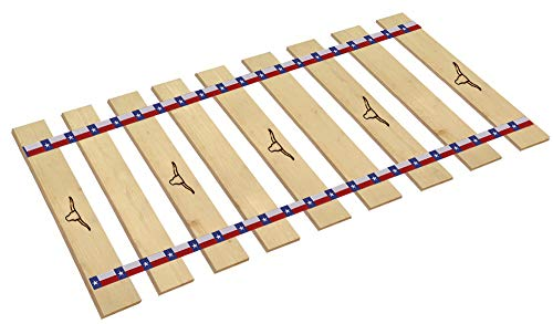 Bed Slats Queen Size Texas Style with Texas Star Straps and Real Branding Iron Designs - Cut to The Custom Width of Your Choice - Longhorns (62