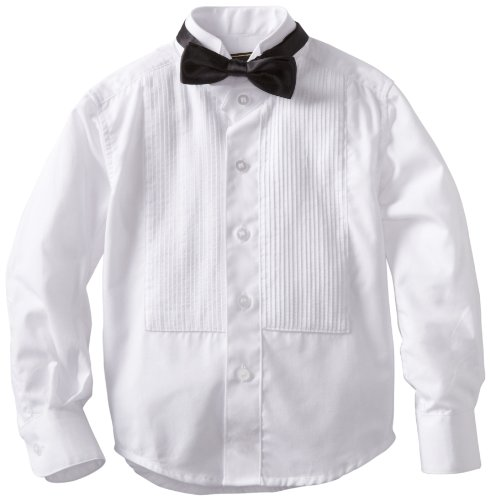 American Exchange Little Boys' Little Tuxedo Shirt with Bowtie, White, 2