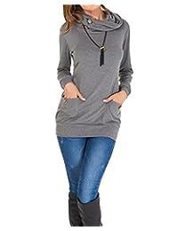 BIUBIU Women Long Sleeve Button Cowl Neck Slim Sweatshirt Tunic Tops with Pocket