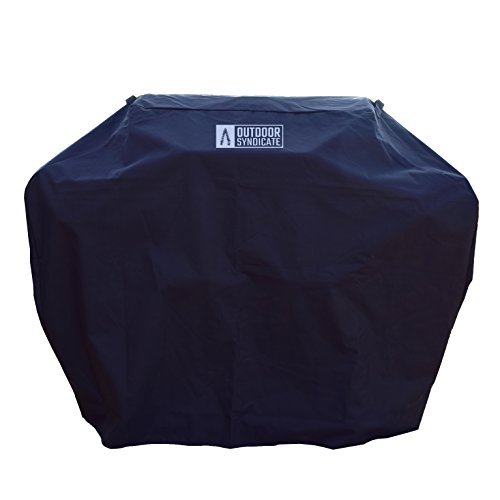 Heavy Duty Grill Cover by Outdoor Syndicate - Premium Waterproof 58 inch 600D Oxford PVC Coated - Black w/ - Grill Handle Gas