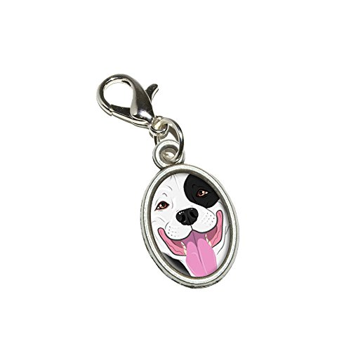 Graphics and More Pit Bull Black White American Staffordshire Terrier Dog Antiqued Bracelet Pendant Zipper Pull Oval Charm with Lobster Clasp