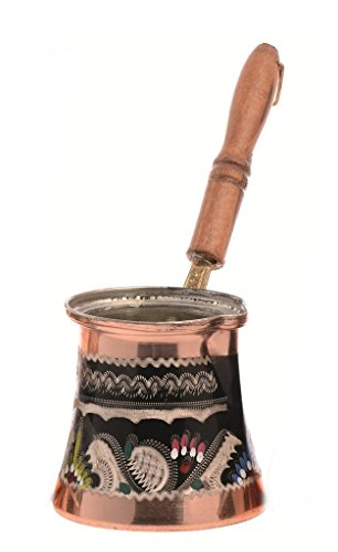 Color Handmade EngraveHammer Through-and-through Copper Turkish Greek Arabic Coffee pot Wooden Handle Thick 1,5 mm (Size3)