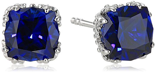- Created Sapphire Jubilee Cut Stud Earrings with Crown Setting in Sterling Silver (7mm)