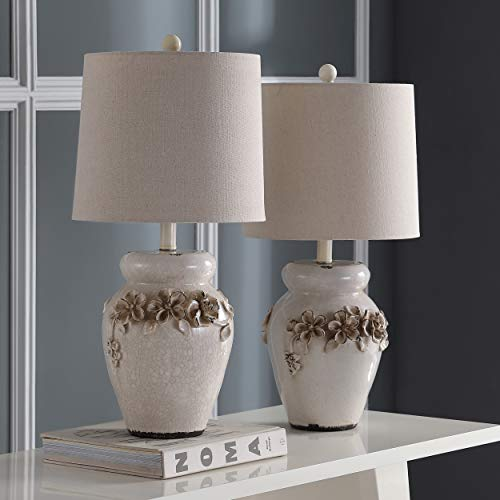 (Safavieh Lighting Collection Marquesa Cream Vase 24-inch Table Lamp (Set of 2))
