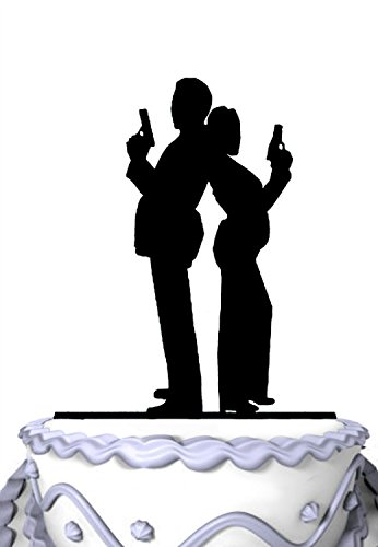 Meijiafei Bride And Groom Spy Cake with Gun Wedding Acrylic Decoration