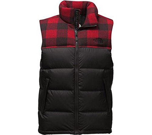 The North Face Nuptse Vest Men's TNF Black/Cardinal Red Grizzly Print (Nylon Print Vest)