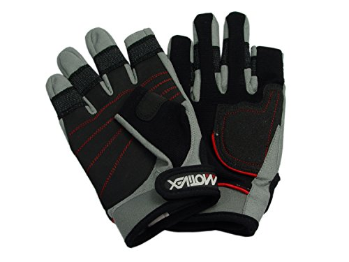 MOTIVEX Segelhandschuhe Rückseite Elasthan, beschichtete Handflächen, 2 Finger geschnitten, Kevlar verstärkte Finger, Größe L