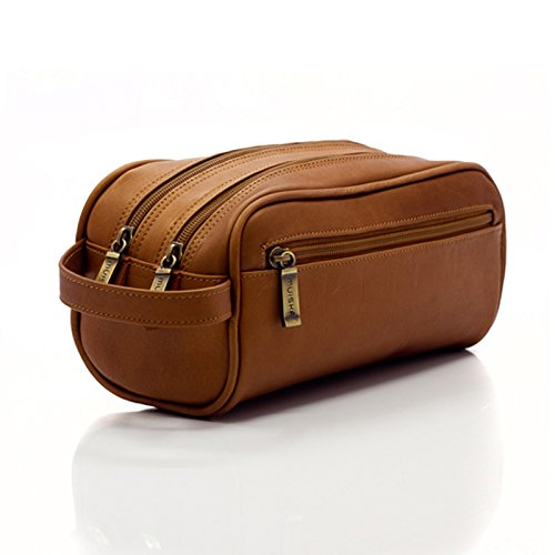 Mens Toiletry Bag -Tomas- by Muiska | Leather Double Zip Travel Dopp Kit Sleek Design and Exceptional Quality in Saddle by Muiska