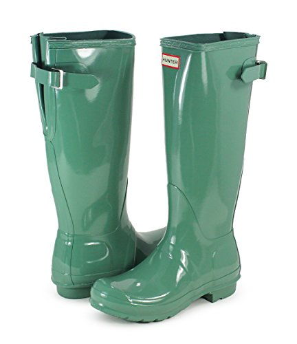 Womens Hunter Original Adjustable Back Gloss Waterproof Winter Rain Boot - Succulent Green - 10 B(M) US