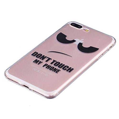 Coque iPhone 7 Plus, IJIA Ultra-mince Transparent Oeil Humoristique (Don't Touch My Phone) TPU Doux Silicone Bumper Case Cover Coque Housse Etui pour Apple iPhone 7 Plus + 24K Or Autocollant