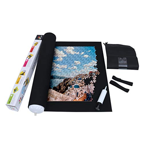Becko Black Felt Mat for Puzzle Storage, Puzzles Saver, No Folded Creases, Environmentally Friendly Materials, with A Drawstring Opening Design Bag and A Hand Pump