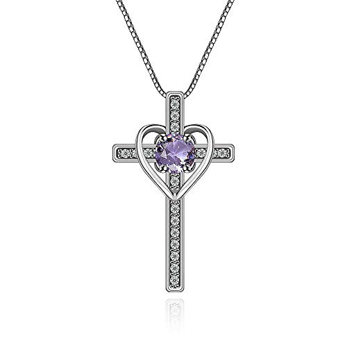 14k Purple Cross - Ovlist 14k White Gold-Plated Round Cut Amethyst Cross Heart Pandent Necklace for Women 16