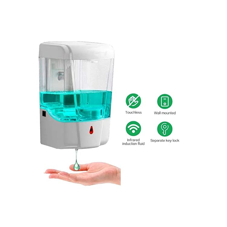 Generic Brands Automatic Hand Sanitizer Dispenser, 700ml Wall-Mounted Touchless Soap Liquid Dispenser Touch Free Motion…