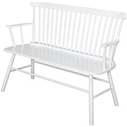 Target Marketing Systems Shelby Wooden Bench with Spindle Back and Arms, White
