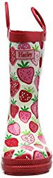 Hatley Little Girls Classic Printed Rain Boot, Strawberry Sundae, 5