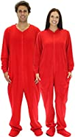 SleepytimePjs Adult Red Footed One Piece Pajamas