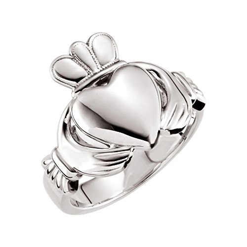 14k White Gold 10.5mm Claddagh Ring - Size 7