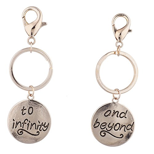 Lux Accessories To Infinity & Beyond Matching Key-chain Set Gold (2 PC)