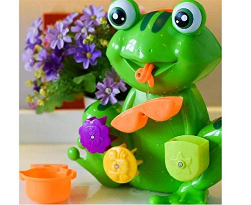 Bath Tub Toy Kid Toddler Green Frog 4 Stacking Cups Water Spray ()