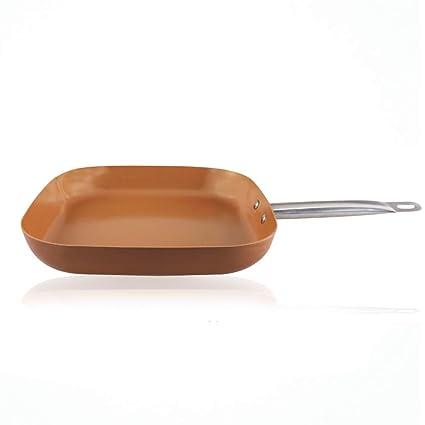 """Sartén cuadrada de 12 """"antiadherente de cobre También se asemeja a una sartén de"""