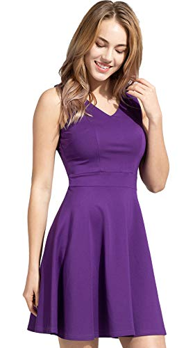 Sylvestidoso Women's A-Line Sleeveless V-Neck Pleated Little Purple Cocktail Party Dress (M, Purple)]()