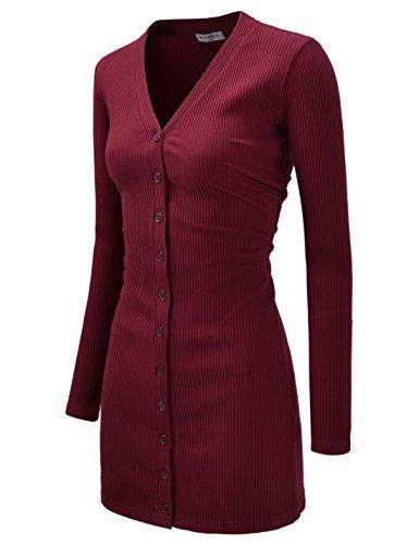NEARKIN (NKNKWBC793) Womens Slim Cut Look Stripe Pattern Button Up Dress Long Cardigan WINE US S(Tag size (Button Up Sweater Vest)