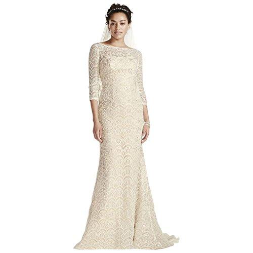 David's Bridal Oleg Cassini Beaded Lace 3/4 Sleeved Wedding Dress Style CWG711, Ivory, (Oleg Cassini Davids Bridal)