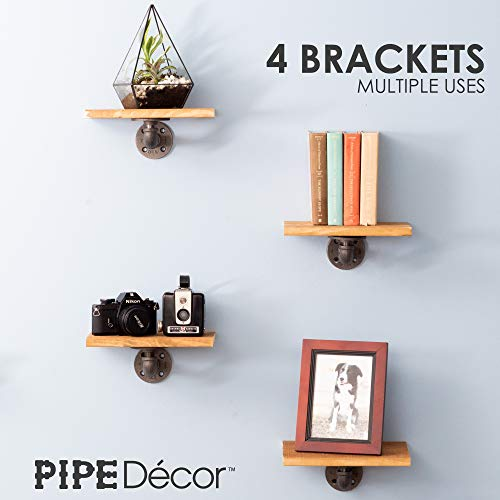 Rustic Pipe Decor Industrial Shelf Brackets – Double Flange Bracket Set of Four, Iron Metal Grey Black Fittings, Custom DIY Floating Shelves, Vintage Furniture Decorations, Wall Mounted (4 Inch Pipe) by PIPE DÉCOR (Image #3)