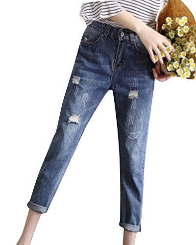 Ripped Azul2 Vaqueros Mengmiao Sueltos la Encima Mujer Pantalones Rodilla Denim Harem Ovvwx5q4