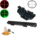mini 14 rail mount - Ultimate Arms Gear Ruger Ranch Rifle .223 7.62 Mini-14 Mini-30 PC-9 PC-4 Carbine Rail Mount + Tactical 4x32 Red/Green P4 Rangefinder Reticle Scope With Top Fiber Optic Sight