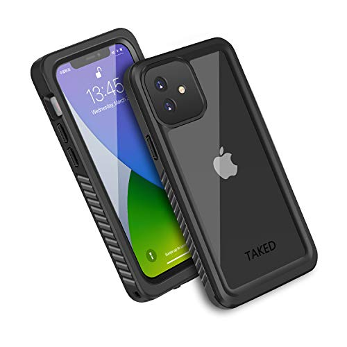 iPhone 12 Waterproof Case, Shockproof Dustproof Snowproof Fully-Body Protective Cover with Screen Protector Clear Back New Designed for iPhone 12 6.1 inch - Black (iPhone 12 6.1'')