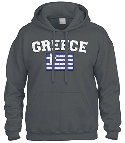 - Cybertela Faded Distressed Greece Flag Sweatshirt Hoodie Hoody (Charcoal, Medium)