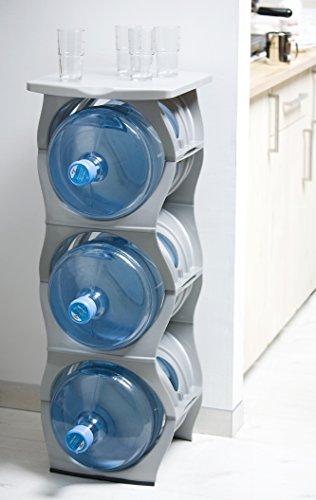 U Water Cooler Bottle Rack (Silver, Three Bottle Rack with Shelf)