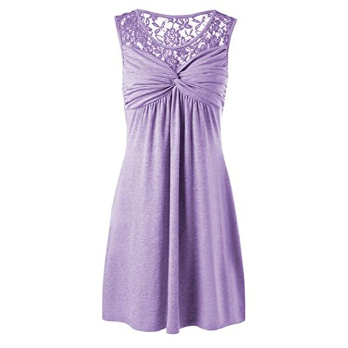 CUCUHAM Women Summer Solid Sexy O Neck Sleeveless Lace Floral Patchwork Bow Dress Party (XXL, Purple)